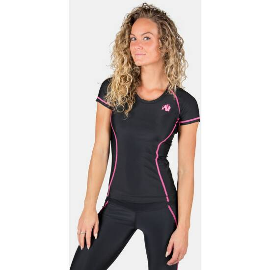 Gorilla Wear Carlin Compression Short Sleeve Top (fekete/pink)