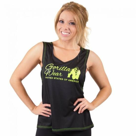 Gorilla Wear Odessa Cross Back Tank Top (fekete/lime)