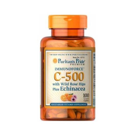 Puritans Pride Vitamin C-500 with Rose Hips & Echinacea (100 tabletta)