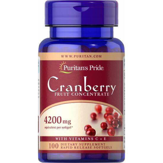 Puritans Pride Cranberry Fruit Concentrate with C & E 4200 mg (100 lágy kapszula)