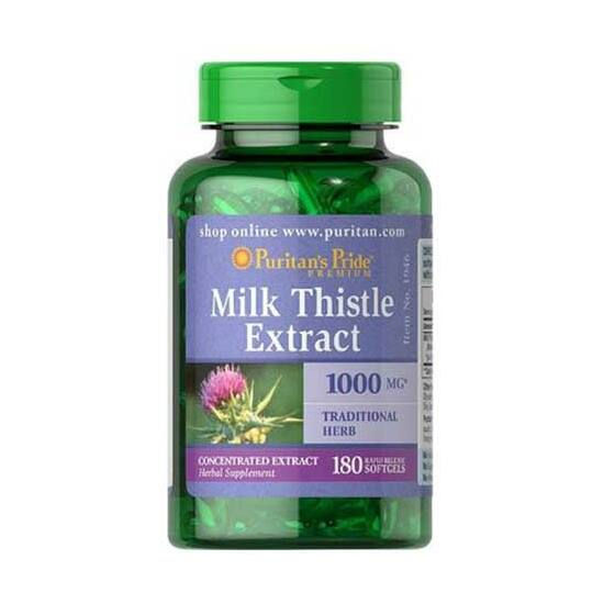 Puritans Pride Milk Thistle Extract 1000mg (180 lágykapszula)