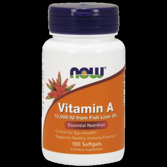 NOW Foods Vitamin A 10000IU (100 lágykapszula)