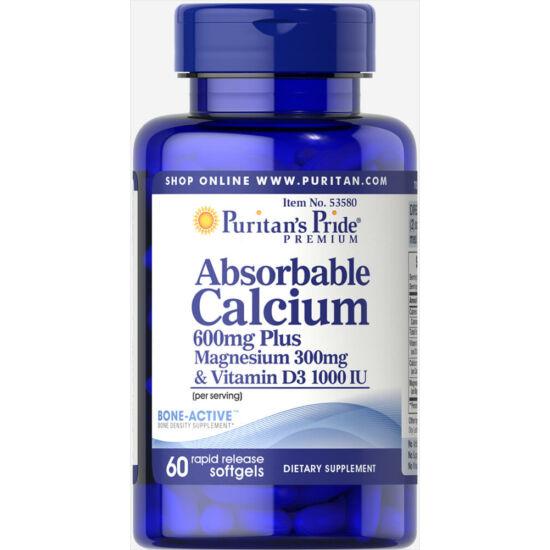 Puritans Pride Absorbable Calcium plus Magnesium & Vitamin D (60 lágy kapszula)