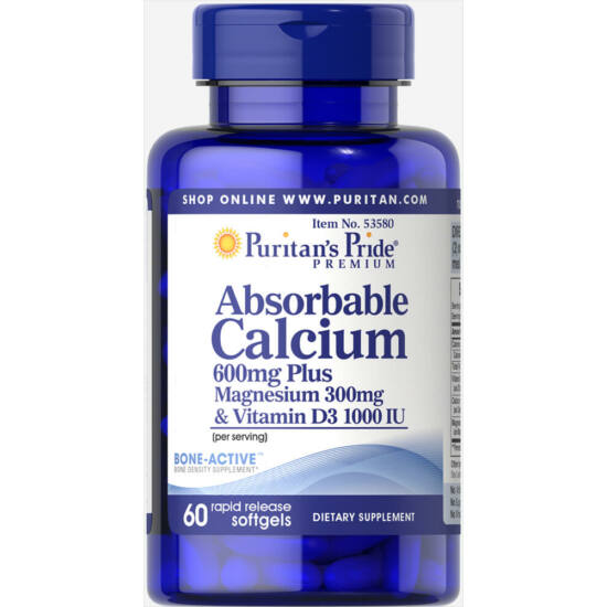 Puritans Pride Absorbable Calcium plus Magnesium & Vitamin D (60 lágy kapszula)